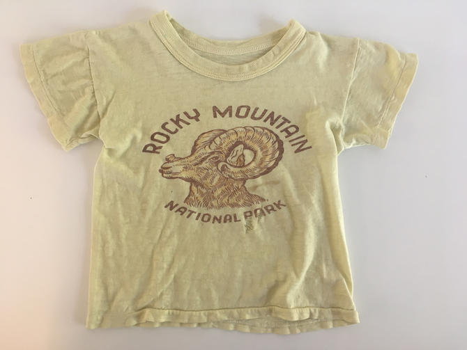 Vintage Rock Mountain National Park T-Shirt Souvenir 70s 1970s USA Short Sleeve Yellow Hipster Retro Kids Baby Toddler Childrens Shirt by CheckEngineVintage