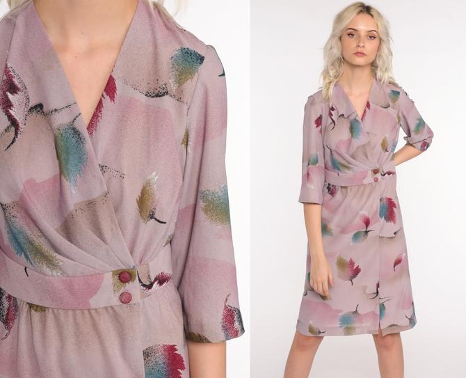 80s Wrap Dress Purple Leaf Print Dress Boho Midi Dress Semi-Sheer 1980s Deep V Neck Bohemian Vintage High Waist Lavender 3/4 Sleeve Small S by ShopExile