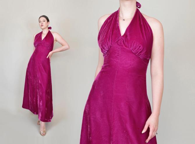 Magenta Silk Velvet Halter Dress   1930's Style Silk Velvet Dress by WisdomVintage