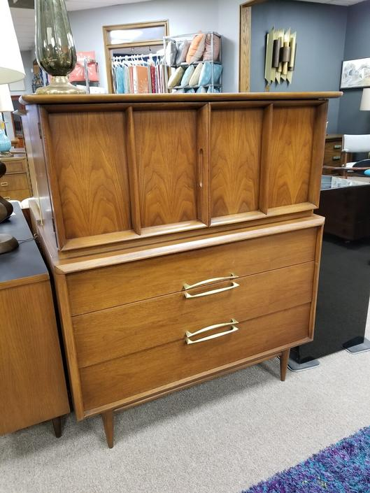 Mid-Century walnut chest on chest by Kent Koffey