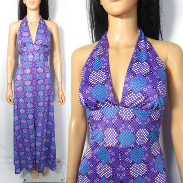Vintage 60s/70s Abstract Print Lightweight Summer Backless Nylon Halter Maxi Dress Size S/M by VelvetCastleVintage