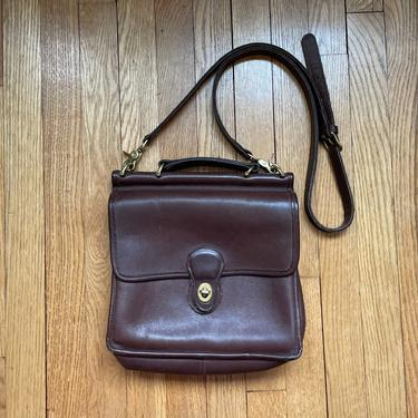 Vintage COACH Willis Bag, Brown Glove Tanned Cowhide Leather Brass Hardware Crossbody Purse by BlackcurrantPreserve