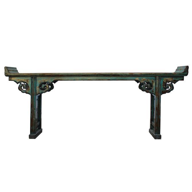 Oriental Distressed Long Teal Blue Scroll Apron Altar Console Table cs5351E by GoldenLotusAntiques