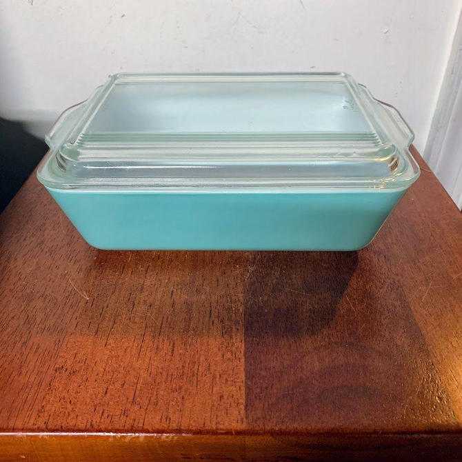 Vintage Pyrex Turquoise Large Refrigerator Dish 503 with Lid Robins Egg Blue Aqua Turquoise Pyrex by OverTheYearsFinds