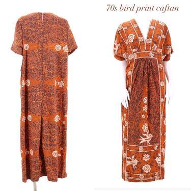 1970s Mexican cotton Kaftan Dress XL  / vintage 1970s rust orange bird print peasant boho dress caftan L by ritualvintage