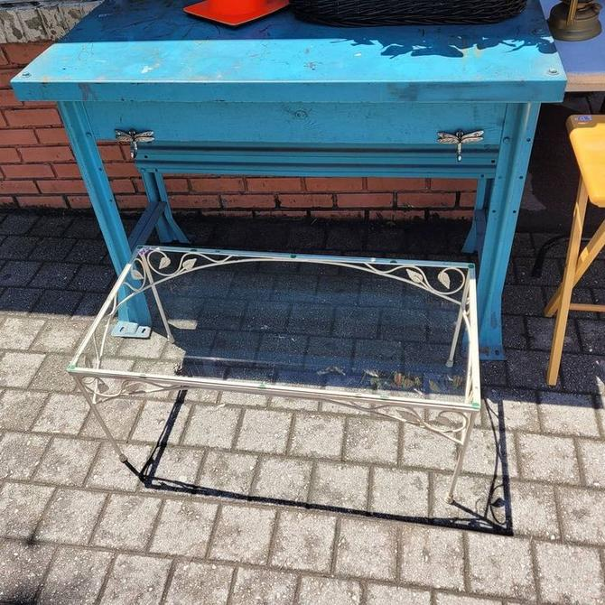 Steel Framed Glass Topped Patio Cocktail Table,