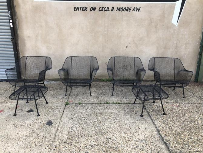 russell woodard wire chair set from midcentury furniture warehouse