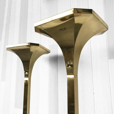 Pair of Hollywood Regency Brass lamps by Chapman