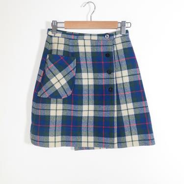 Vintage 60s Plaid Wool Wrap School Girl Mini Skirt XS by VelvetCastleVintage