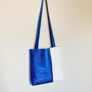 Blue neon leather bag by shopjoolee