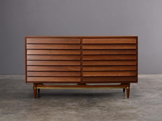 4.5ft Mid Century Modern Walnut Double Dresser with Brass Accents by MadsenModern