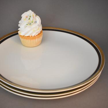 Dinner Plates Mikasa Boutique | Set of 3 | 18k Gold Black Rim | Modern Minimal Masculine | Vintage Plate Dishes | 421 Mikasa Japan Pattern by LostandFoundHandwrks