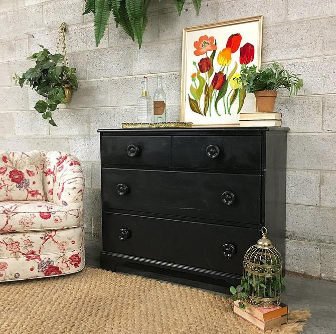 LOCAL PICKUP ONLY Vintage Dresser Retro 1980s Black Painted Maple Wood Three Drawer Bureau With Large Knobs for Bedroom or Clothing Storage by RetrospectVintage215