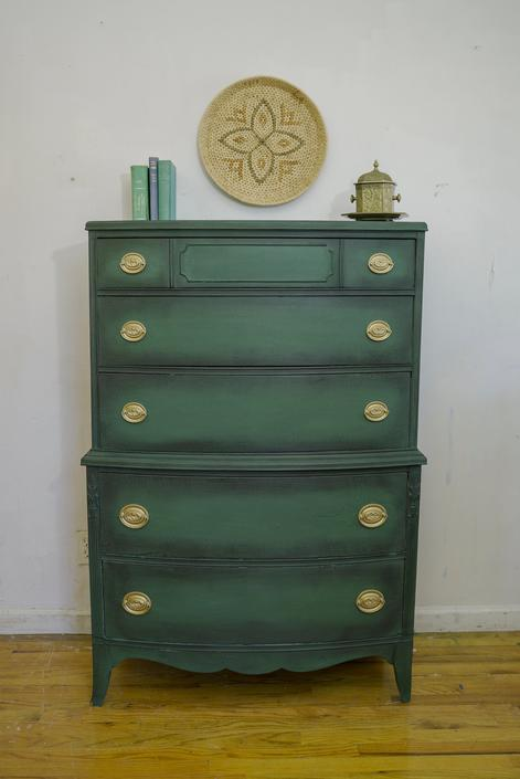 Green Antique Dresser, Forest Green Chest, Hunter Green Vintage Dresser, Federal Dresser, Highboy Dresser, Green and Gold, Free NYC Delivery by AntiqueBoutiqueNYC