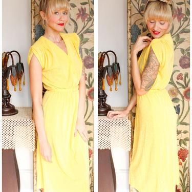 1970s Dress // Vicky Vaughn Golden Sun Dress // vintage 70s dress by dethrosevintage