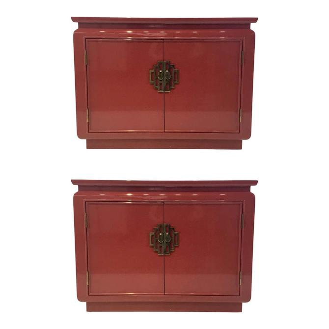 Mid-Century Modern Vintage Asian Red Lacquered Chests Pair