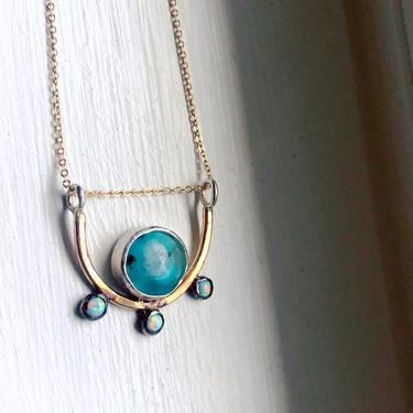 Shield Pendant- Abstract Sculptural Crystal Necklace in Sterling and 14k Gold Fill with Opals by RachelPfefferDesigns