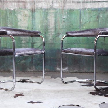 Mid Century Modern PAIR of Chairs by Anton Lorenz for Thonet Bent Chrome Cantilever Chair Post Modern Grey Gray by CatchMyDriftVintage