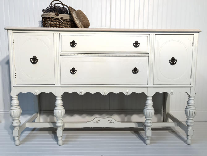 Shabby chic country style refinished Jacobean buffet / sideboard / TV stand / credenza White by RelovedFurnitureStor