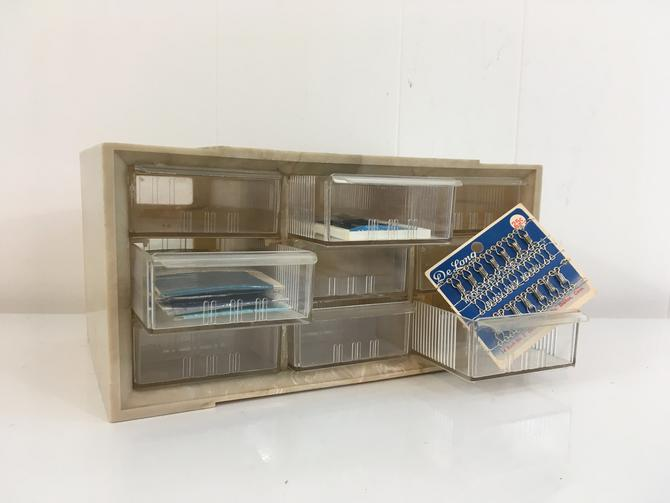 Vintage Akro Mils Drawers Beige 9 Drawer Craft Storage Box Plastic