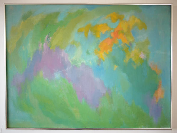 """Original Vintage V. GREENBERG ABSTRACT Expressionist PAINTING 27x36"""" Oil / Canvas, Mid-Century Modern Art rainbow pastel eames knoll era by refugegallery"""