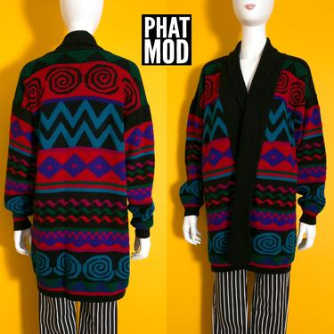 Oversized Colorful 80s 90s Geometric Spiral Zig Zag Stripe Long Cardigan Sweater by RETMOD