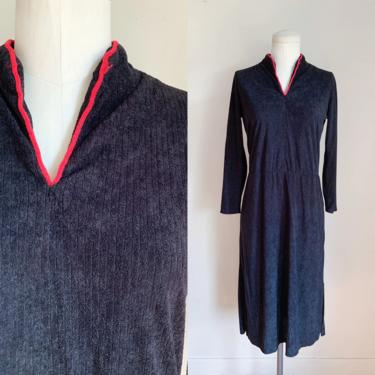 Vintage 1970s Black & Red Terry Cloth Dress / M by MsTips