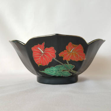 Vintage Black Console Bowl / Gold Rim Decorative Bowl / Red Floral Catch All Jewelry Dish / Made in Japan / Retro 1980s Home Decor by SoughtClothier