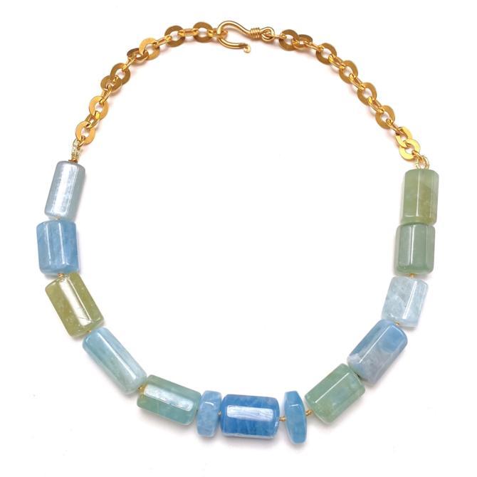 Aquamarine Geo Cut Necklace