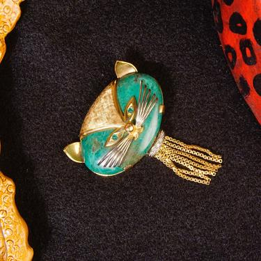 Vintage 18K Gold Diamond Malachite Cat Brooch, Yellow & White Gold, Large Green Cat Pin, Gold Tassel Diamond Collar, Unique Brooch, 750 by shopGoodsVintage