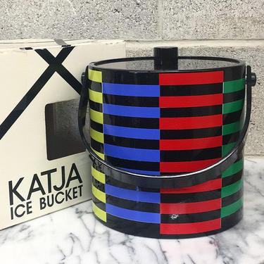 Vintage Ice Bucket Retro 1980s Contemporary + Katja + By Towle + Memphis Design + 3 Quart + Primary Keys Pattern + Metal Tongs + Barware by RetrospectVintage215