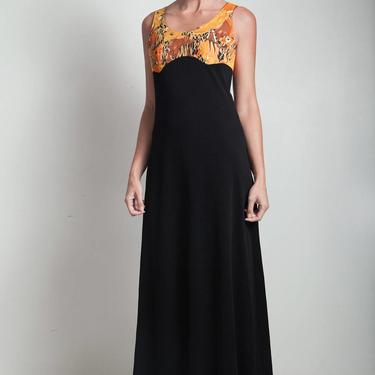 70s vintage maxi black dress empire waist safari animal print MEDIUM M by shoprabbithole