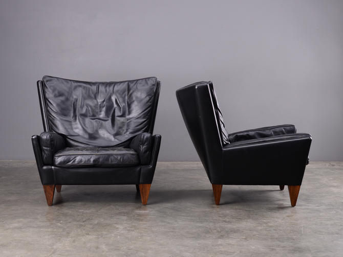 Pair of Mid Century Black Leather Armchairs Danish Modern by MadsenModern