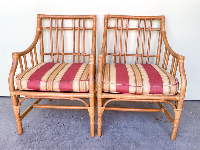 Pair of Rattan Arm Chairs