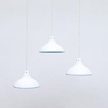 French Industrial Enameled Metal Factory Lamps