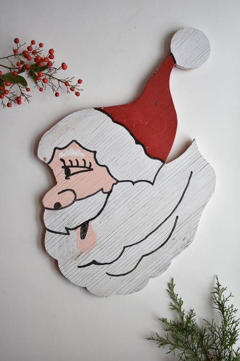 Vintage Santa Wall Decoration | Homemade Handmade Painted Cut Wood Santa Claus Illustration | Wreath Component Craft Supply Vintage Kitsch by LostandFoundHandwrks