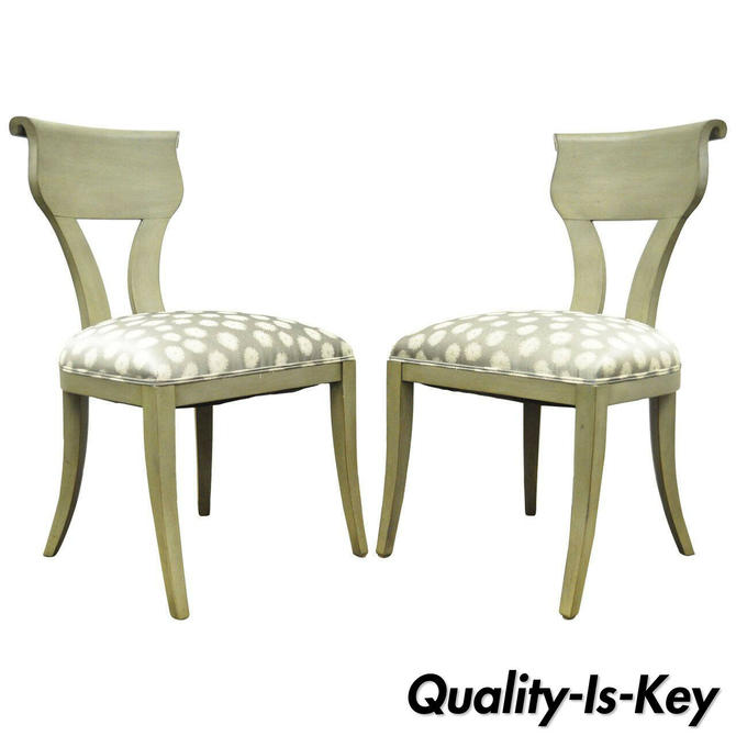 Pair of Hollywood Regency Klismos Neoclassical Style Grey Painted Side Chairs