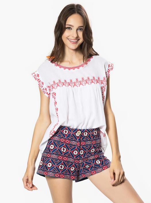 Blue Ethnic Print Shorts