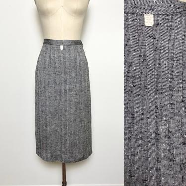 Vintage 1950s Pencil Skirt 50s Deadstock Rayon and Silk 27 inch waist Black and White by littlestarsvintage