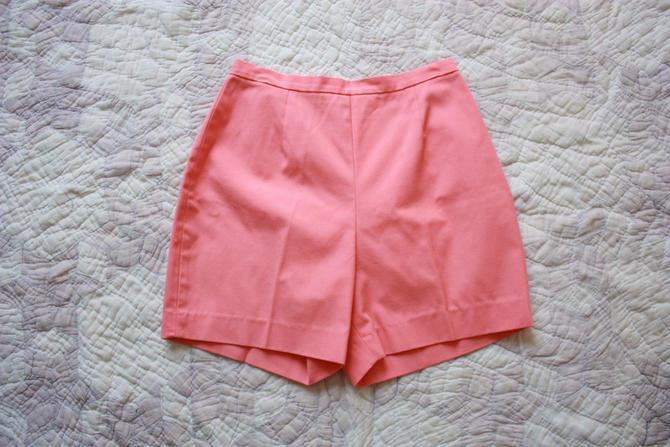 60s Jantzen Coral Pink Shorts with Back Zipper Size S by NoSurrenderVintage