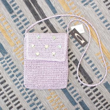 Vintage Early 2000s Y2K Crochet Crossbody Bag - Purple Lilac Floral Boho Raffia Purse with Original Tags by SecondShiftVintage