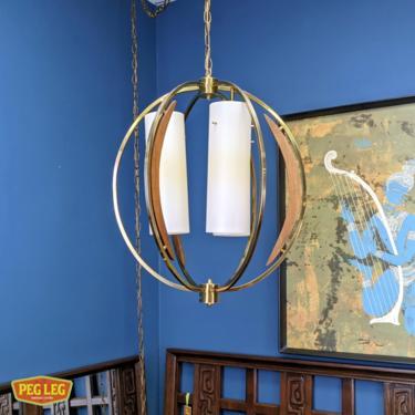 Mid-Century Modern brass swag light with walnut details