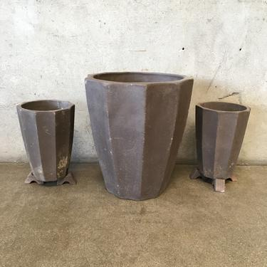 Set of 3 Brown Pleated Planters
