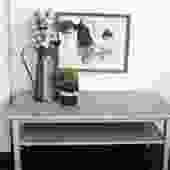 Rectangle Light Grey Coffee Table with Shelf