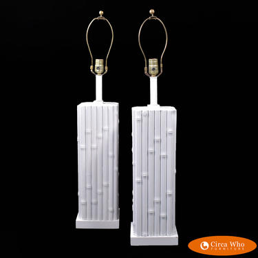 Pair of Faux Bamboo White Table Lamps