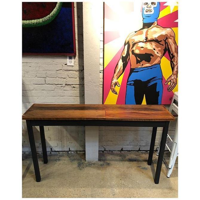 Rustic reclaimed console matte black painted legs 54 L x 13.5 D x 30.5 H