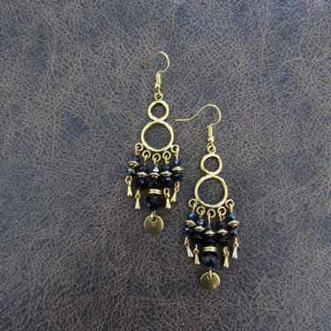 Black and gold chandelier earrings, gypsy dangle earrings, India earrings, Art Deco earrings, Victorian, unique statement earrings by Afrocasian