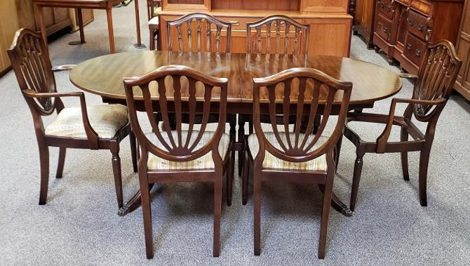 Item #S2067 Vintage Ribbon Mahogany Dining Table w/ Six Chairs c.1950s