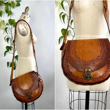 MICHAEL SURGES Vintage 70s Handcrafted Leather Shoulder Bag   1970s Brown Hand Tooled, Laced, Braided Strap Purse   Boho Bohemian Hippie by lovestreetsf