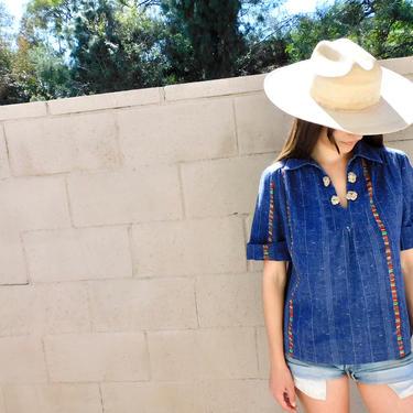 San Luis Blouse // vintage 70s 1970s cotton blue denim style boho shirt top dress country // S/M by FenixVintage